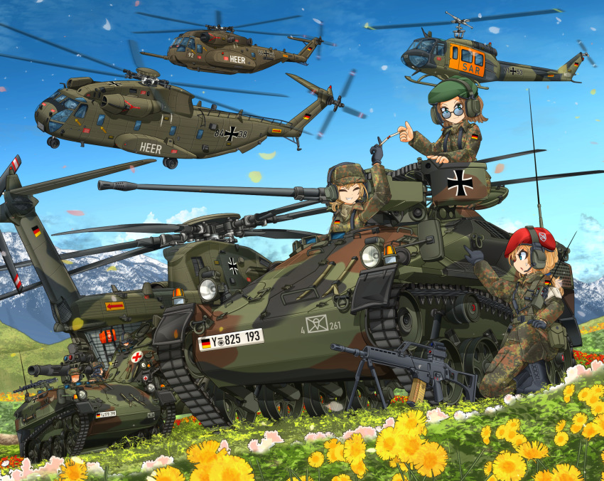 3girls 3others assault_rifle beret black_footwear black_gloves blonde_hair blue_eyes blue_sky boots brown_hair bundeswehr camouflage camouflage_headwear camouflage_jacket camouflage_pants caterpillar_tracks ch-53 check_vehicle check_weapon cigarette closed_eyes commentary_request day flower german_flag glasses gloves grass green_headwear gun h&k_g36 hat headset highres hill iron_cross long_sleeves mikeran_(mikelan) military military_uniform military_vehicle mountain multiple_girls multiple_others one_knee original pants pointing red_cross red_headwear rifle short_hair sky smile tow_atgm uh-1_iroquois uniform walkie-talkie weapon wide_shot wiesel_1