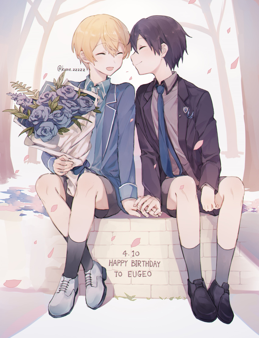 2boys absurdres black_eyes black_hair black_suit blonde_hair blue_flower blue_rose blue_suit character_name closed_eyes eugeboy_zzzzz eugeo flower formal happy_birthday highres holding_hands kirito male_focus multiple_boys rose short_hair shorts smile suit suit_jacket sword_art_online sword_art_online_alicization