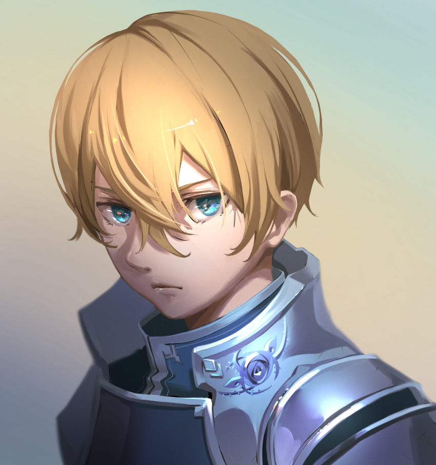 1boy absurdres blonde_hair blue_eyes closed_mouth eugeo frown hair_between_eyes highres looking_at_viewer male_focus oekaki_taro shiny shiny_hair solo sword_art_online upper_body