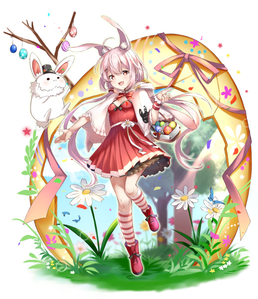 1girl :d animal animal_ear_fluff animal_ears bangs basket black_headwear blush boots bow breasts bug butterfly capelet clothed_animal commentary_request day dress easter easter_egg egg eyebrows_behind_hair fang flower frilled_capelet frills grass hair_between_eyes hat highres hood hood_down hooded_capelet insect kneehighs long_hair looking_at_viewer low_twintails mashiro_aa mini_hat mini_top_hat open_mouth petals pink_hair pleated_dress rabbit rabbit_ears red_bow red_dress red_eyes red_footwear single_wrist_cuff small_breasts smile solo standing standing_on_one_leg star striped striped_legwear thick_eyebrows tomari_mari tomari_mari_channel top_hat tree twintails very_long_hair virtual_youtuber white_background white_capelet white_flower wrist_cuffs