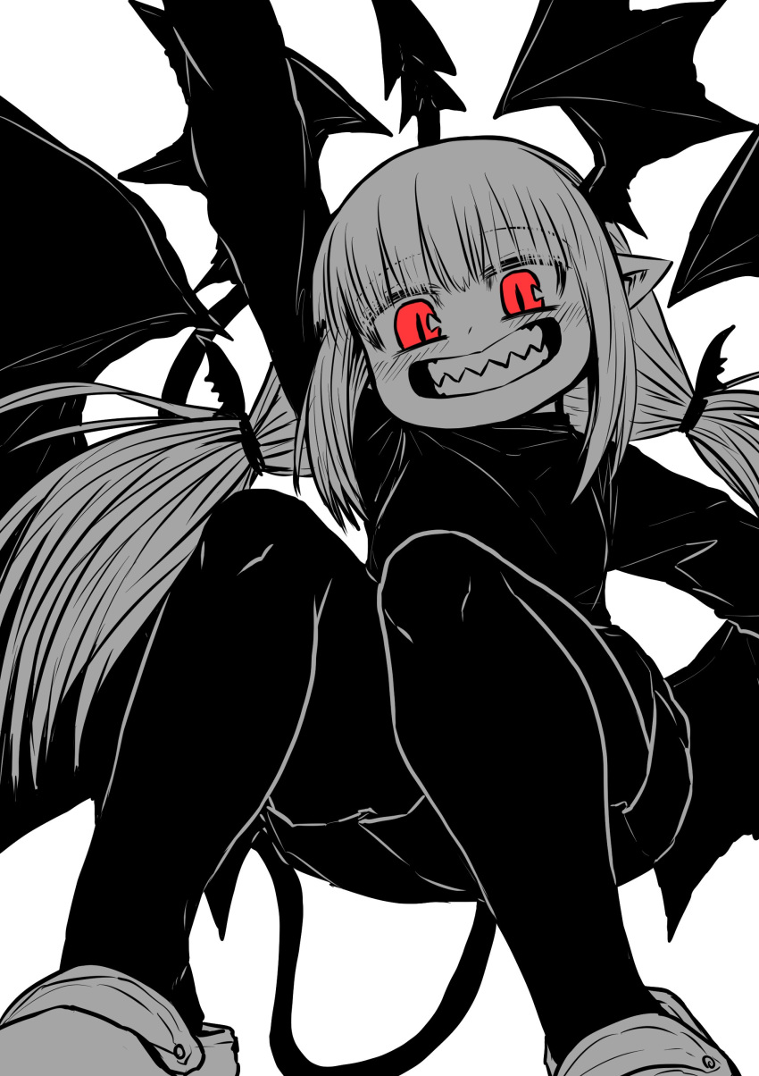 1girl absurdres black_shirt black_shorts demon_girl demon_tail demon_wings head_wings highres juugoya_(zyugoya) limited_palette lizette_(musuko_ga_kawaikute_shikatanai_mazoku_no_hahaoya) looking_at_viewer musuko_ga_kawaikute_shikatanai_mazoku_no_hahaoya pointy_ears red_eyes sharp_teeth shirt shorts tail teeth tied_hair wings