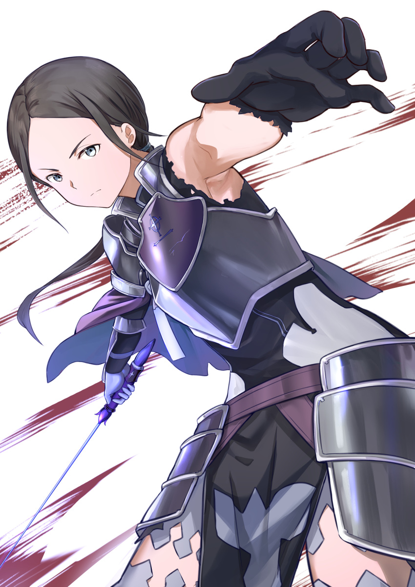 1girl absurdres armor armored_dress armpits asymmetrical_gloves bangs black_dress black_gloves black_hair breastplate closed_mouth cowboy_shot dress faulds floating_hair frown gloves grey_eyes grey_legwear highres holding holding_sword holding_weapon leaning_forward long_hair mosta_(lo1777789) parted_bangs ponytail purple_capelet sheyta_(sao) solo sword sword_art_online thigh-highs torn_clothes torn_dress weapon white_background