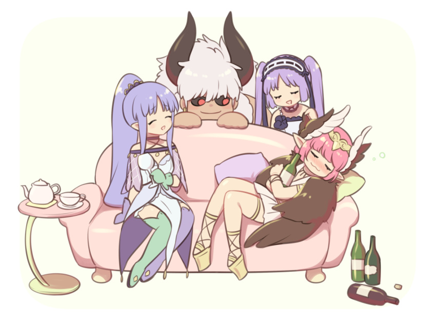 1boy 3girls 7dango7 alcohol armlet asterios_(fate/grand_order) aunt_and_niece black_sclera blue_hair blush boots bottle bracelet brown_wings caster caster_lily circe_(fate/grand_order) dress drunk euryale fate/grand_order fate/hollow_ataraxia fate/stay_night fate_(series) feathered_wings frilled_hairband frills gloves hairband head_wings headdress headpiece highres holding holding_bottle horns jewelry lolita_hairband long_hair magical_girl mismatched_gloves mismatched_legwear multiple_girls pointy_ears ponytail purple_hair red_eyes sake sake_bottle strapless strapless_dress thigh-highs thigh_boots thighlet white_dress white_hair winged_hair_ornament wings