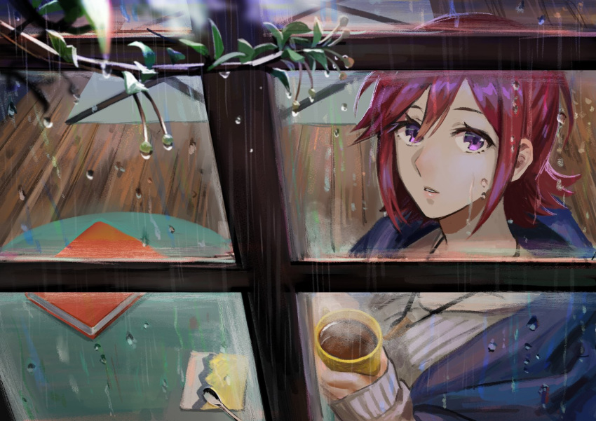 1girl alternate_costume cup highres holding holding_cup jewelry kaname_buccaneer looking_up macross macross_delta mug necklace pote-mm rain redhead ribbed_sweater short_hair solo steam sweater tree violet_eyes water water_drop