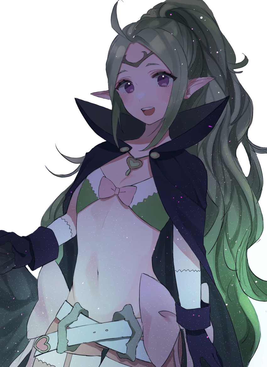 1girl ahoge belt black_gloves blush bow cape circlet commentary_request eyelashes fire_emblem fire_emblem_awakening flat_chest gloves green_hair highres long_hair manakete midriff navel nowi_(fire_emblem) open_mouth pink_bow pointy_ears ponytail simple_background solo ume_ryou violet_eyes white_background