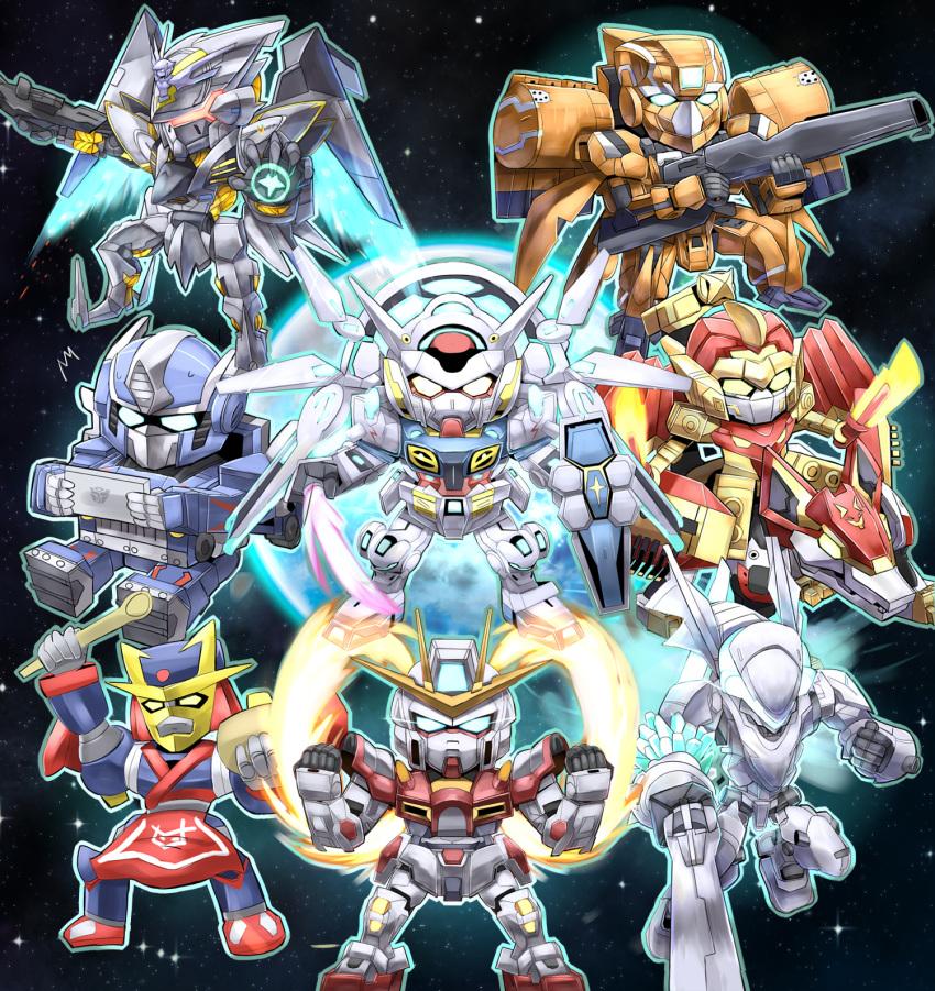 aldnoah.zero bravenwolf build_burning_gundam chibi cross_ange crossover doamaiger_d doamaiger_d_(mecha) fighting_stance g-self gun gundam gundam_build_fighters gundam_build_fighters_try gundam_g_no_reconguista highres kg-6_sleipnir mark_sein mecha no_humans planet soukyuu_no_fafner space super_robot super_robot_wars tablet_pc tenkai_knights transformers villkiss_(cross_ange) weapon xenonstriker