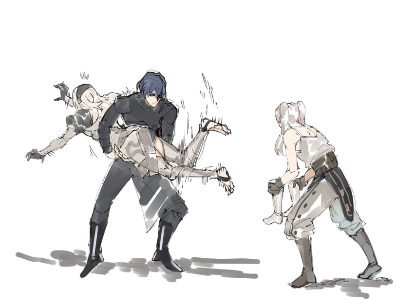 1boy 2girls armor blue_hair boots byleth_(fire_emblem) byleth_eisner_(male) byleth_eisner_(male) cape closed_mouth corrin_(fire_emblem) corrin_(fire_emblem)_(female) dragon_girl elf female_my_unit_(fire_emblem:_kakusei) female_my_unit_(fire_emblem_if) fire_emblem fire_emblem:_three_houses fire_emblem:_kakusei fire_emblem:_three_houses fire_emblem_13 fire_emblem_14 fire_emblem_16 fire_emblem_awakening fire_emblem_fates fire_emblem_heroes fire_emblem_if garreg_mach_monastery_uniform gloves hair_ornament hairband highres human intelligent_systems kamui_(fire_emblem) long_hair long_sleeves male_my_unit_(fire_emblem:_three_houses) manakete multiple_girls my_unit_(fire_emblem:_three_houses) my_unit_(fire_emblem:_kakusei) my_unit_(fire_emblem_if) nintendo pointy_ears reflet robin_(fire_emblem) robin_(fire_emblem)_(female) short_hair simple_background struggling twintails what white_hair yourfreakyneighbourh