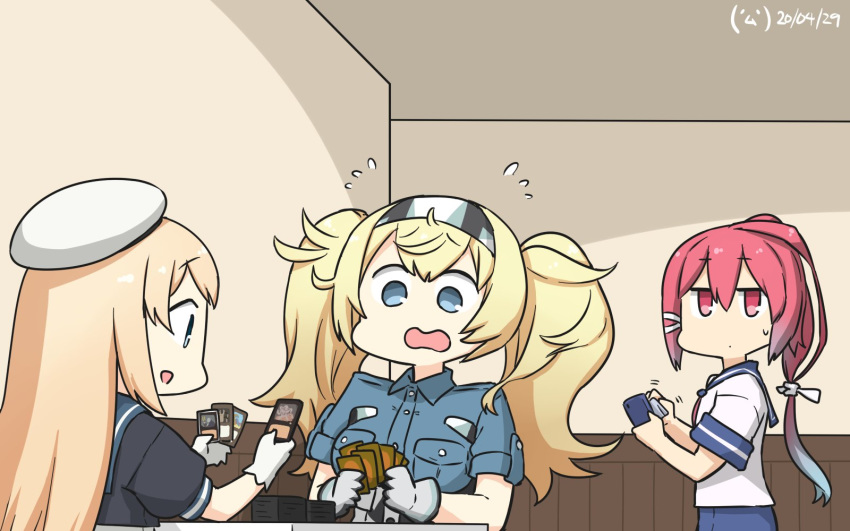 3girls blonde_hair blue_eyes blue_sailor_collar blue_shirt breast_pocket breasts card card_(medium) cellphone chair collared_shirt commentary_request cowboy_shot dated dress flying_sweatdrops from_side gambier_bay_(kantai_collection) gloves gradient_hair hair_between_eyes hair_ribbon hairband hamu_koutarou hat highres i-168_(kantai_collection) indoors jervis_(kantai_collection) jitome kantai_collection large_breasts leaning_back long_hair looking_at_another looking_down magic:_the_gathering messy_hair multicolored_hair multiple_girls one-piece_swimsuit open_mouth phone pink_hair pocket ponytail redhead ribbon sailor_collar sailor_dress sailor_hat school_swimsuit school_uniform serafuku shirt short_sleeves signature sitting smartphone swimsuit swimsuit_under_clothes table twintails two-tone_hair upper_body wavy_mouth white_gloves white_headwear