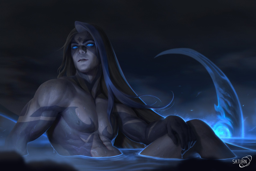 1boy black_hair blue_eyes blue_hair collarbone dripping facial_mark glowing glowing_eyes glowing_weapon highres kayn league_of_legends long_hair male_focus multicolored multicolored_hair navel night night_sky nipples nude outdoors parted_lips partially_submerged saturn_(satscarlet) scythe signature sitting sky solo steam tattoo water weapon wet