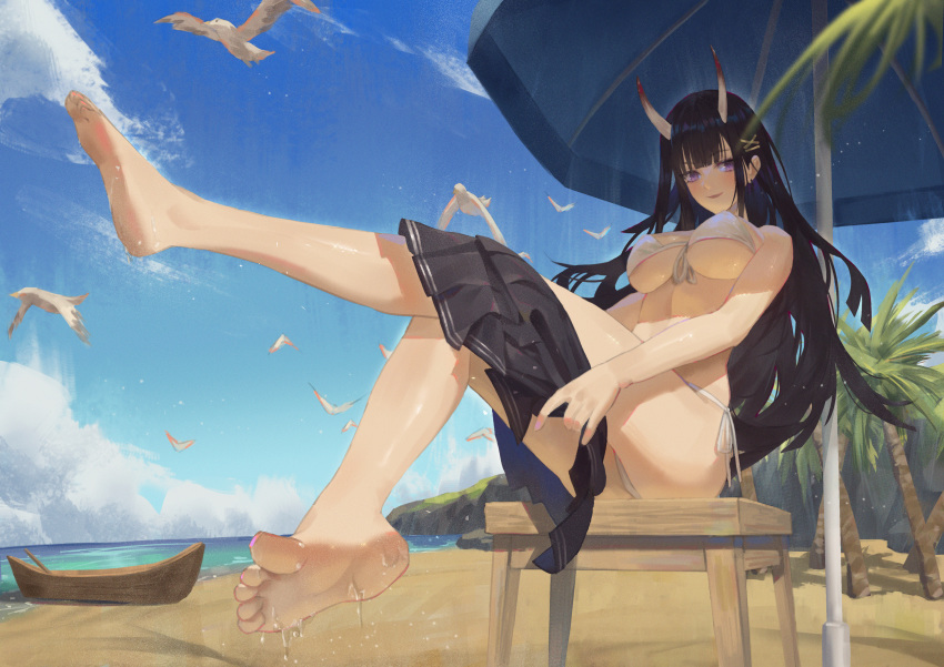 1girl absurdres azur_lane barefoot beach bikini bird black_cardigan black_hair boat cirilla feet hair_ornament highres horn long_hair looking_at_viewer noshiro_(azur_lane) ocean oni_horns palm_tree scenery seagull skirt solo swimsuit tree undressing violet_eyes watercraft wet white_bikini x_hair_ornament