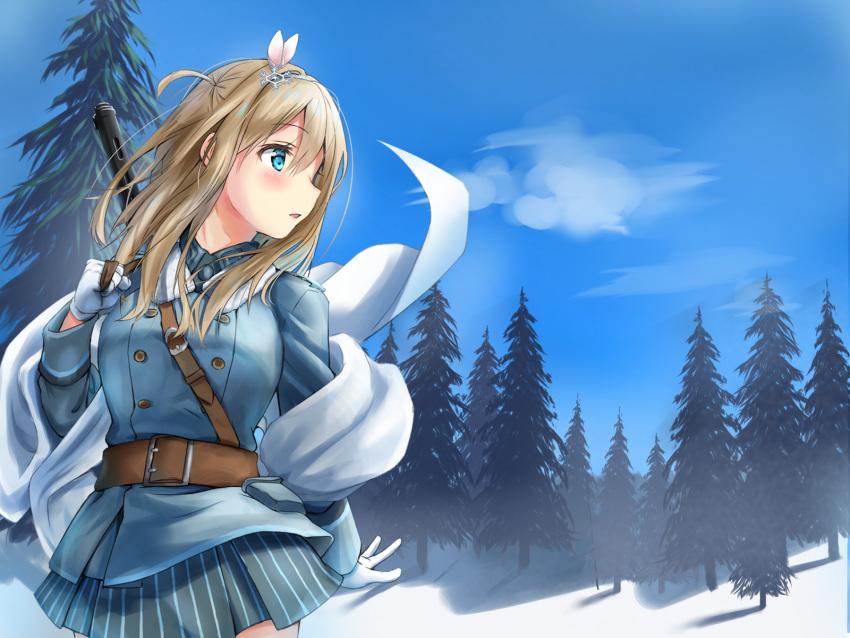 1girl blue_eyes blush brown_hair coat girls_frontline gun highres long_hair solo submachine_gun suomi_kp/-31 suomi_kp31_(girls_frontline) weapon winter winter_clothes winter_coat yukinoshiro