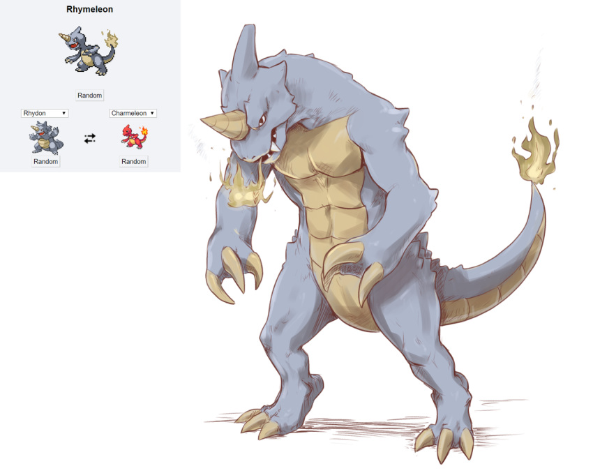 charmeleon claws commentary creature directional_arrow english_commentary fatmanass full_body fusion gen_1_pokemon no_humans pokemon pokemon_(creature) rhydon simple_background standing white_background