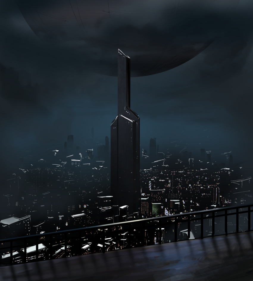 black_theme city city_lights cityscape clouds cloudy_sky floating floating_object highres igara1108 machi_(game) night night_sky no_humans outdoors railing scenery sky tower