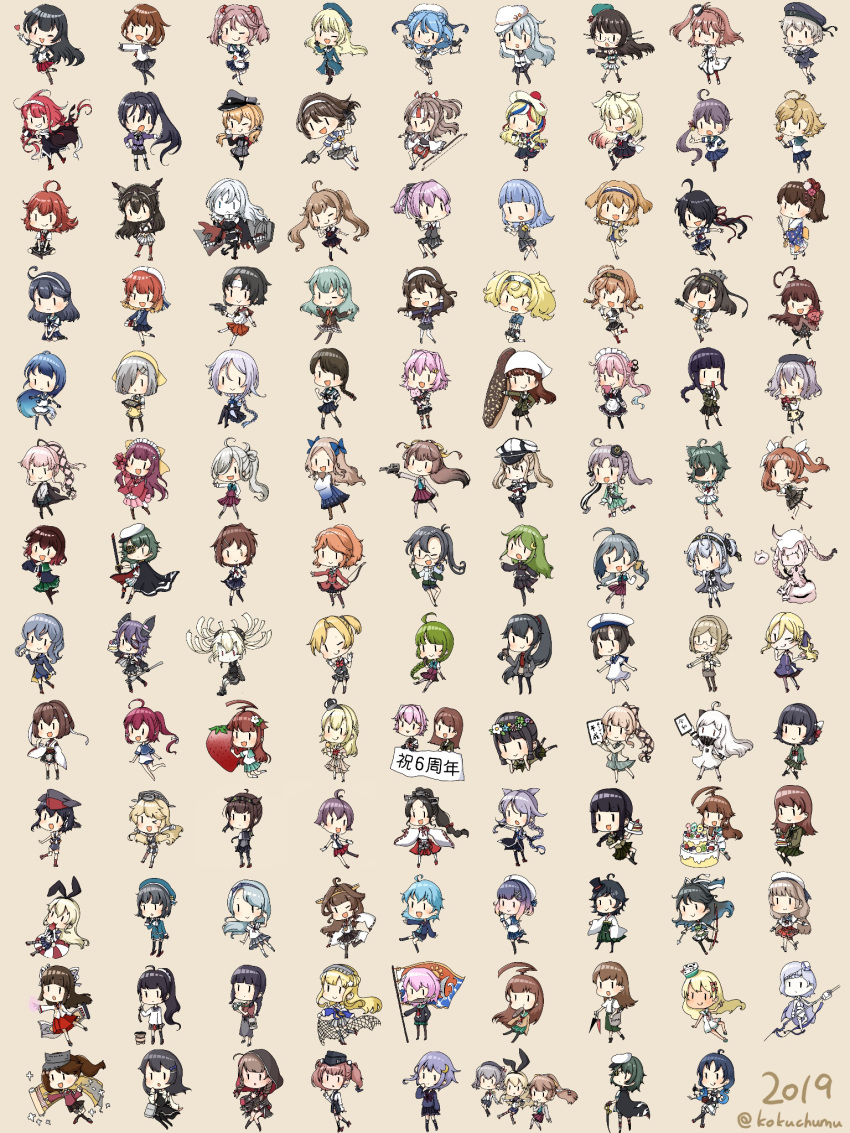 2019 6+girls abyssal_crane_hime abyssal_nimbus_hime abyssal_pacific_hime agano_(kantai_collection) ahoge akebono_(kantai_collection) akitsushima_(kantai_collection) akizuki_(kantai_collection) alternate_costume amagiri_(kantai_collection) animal_ears anniversary aquila_(kantai_collection) arashi_(kantai_collection) asakaze_(kantai_collection) asashimo_(kantai_collection) ashigara_(kantai_collection) atago_(kantai_collection) atlanta_(kantai_collection) bangs black_hair blonde_hair blue_hair blush brown_background brown_hair chibi choukai_(kantai_collection) closed_mouth commandant_teste_(kantai_collection) crown daitou_(kantai_collection) etorofu_(kantai_collection) european_water_hime eyepatch fairy_(kantai_collection) fletcher_(kantai_collection) flower furutaka_(kantai_collection) gambier_bay_(kantai_collection) gotland_(kantai_collection) gradient_hair graf_zeppelin_(kantai_collection) grecale_(kantai_collection) green_hair grey_hair hair_ornament hairclip hamakaze_(kantai_collection) harusame_(kantai_collection) hat hatsukaze_(kantai_collection) hatsuzuki_(kantai_collection) headgear hibiki_(kantai_collection) highres hiyou_(kantai_collection) i-14_(kantai_collection) i-168_(kantai_collection) i-26_(kantai_collection) ikazuchi_(kantai_collection) iowa_(kantai_collection) ise_(kantai_collection) ishigaki_(kantai_collection) isokaze_(kantai_collection) kaga_(kantai_collection) kagerou_(kantai_collection) kako_(kantai_collection) kamikaze_(kantai_collection) kantai_collection kashima_(kantai_collection) katori_(kantai_collection) katsuragi_(kantai_collection) kawakaze_(kantai_collection) kazagumo_(kantai_collection) kiso_(kantai_collection) kitakami_(kantai_collection) kiyoshimo_(kantai_collection) kongou_(kantai_collection) kuma_(kantai_collection) light_brown_hair long_hair long_sleeves maikaze_(kantai_collection) matsukaze_(kantai_collection) mikura_(kantai_collection) military military_uniform minazuki_(kantai_collection) multicolored_hair multiple_girls muras