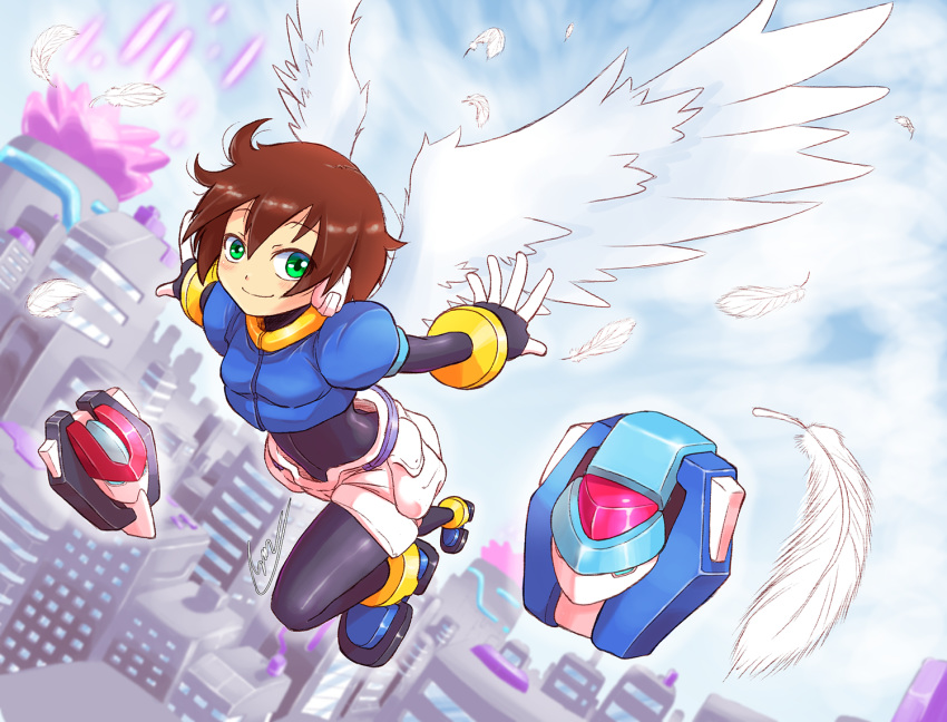 1girl aile blush bodystocking bodysuit brown_hair closed_mouth gloves green_eyes looking_at_viewer robot_ears rockman rockman_zx short_hair shorts shoutaro_saito smile spandex