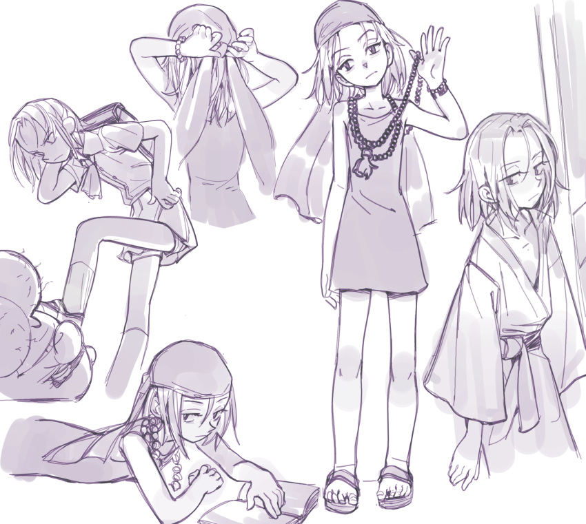1boy 1girl absurdres bandana beads dress highres japanese_clothes kyouyama_anna monochrome pleated_skirt prayer_beads sandals school_uniform season_(artist) shaman_king short_dress short_hair skirt