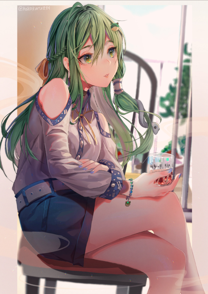 1girl adapted_costume belt blue_nails blue_skirt bracelet braid casual chair contemporary crossed_legs cup drinking_glass frog_hair_ornament green_eyes green_hair hair_between_eyes hair_ornament heikokuru1224 highres holding holding_cup jewelry kochiya_sanae lips long_hair miniskirt nail_polish shirt sitting skirt snake_hair_ornament solo touhou white_belt white_shirt
