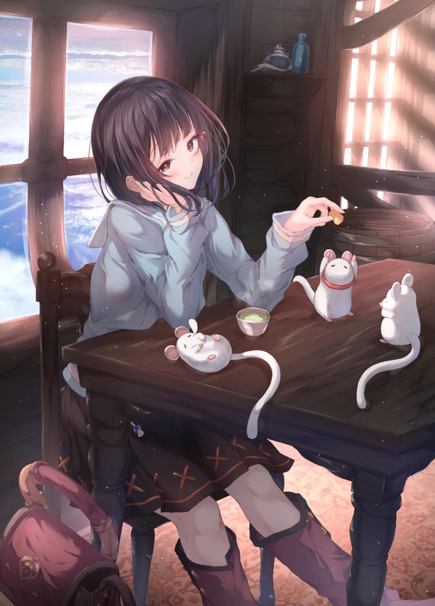 1girl absurdres bag black_hair blue_sky boots brown_eyes chair cheek_rest cheese food granblue_fantasy highres mouse skirt sky table tea ukiwakisen vikala_(granblue_fantasy) window