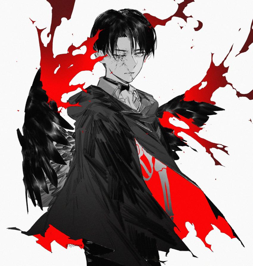 1boy blood bone cloak closed_mouth facial_scar greyscale highres hood hood_down levi_(shingeki_no_kyojin) male_focus monochrome one_eye_closed scar scar_across_eye shingeki_no_kyojin simple_background solo spot_color standing torn_cloak torn_clothes twitter_username white_background wings yuji_(fantasia)