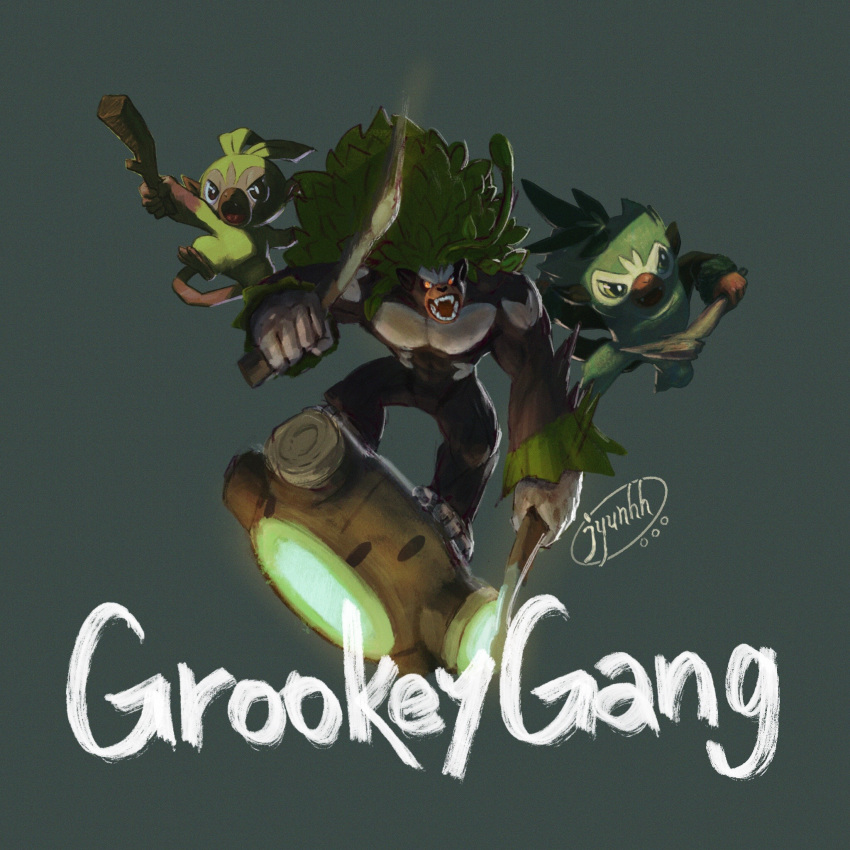 commentary_request creature english_text full_body gen_8_pokemon grey_background grookey highres jumping jyunhh no_humans pokemon pokemon_(creature) rillaboom simple_background thwackey
