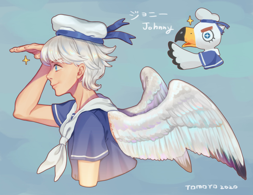 1boy bird blue_eyes blue_headwear blue_shirt dated deng_deng doubutsu_no_mori eyebrows_visible_through_hair from_side green_background hand_to_forehead hat johnny_(doubutsu_no_mori) male_focus multiple_views sailor_hat seagull shirt short_hair short_sleeves smile star star-shaped_pupils symbol-shaped_pupils translation_request white_hair white_headwear white_wings wings