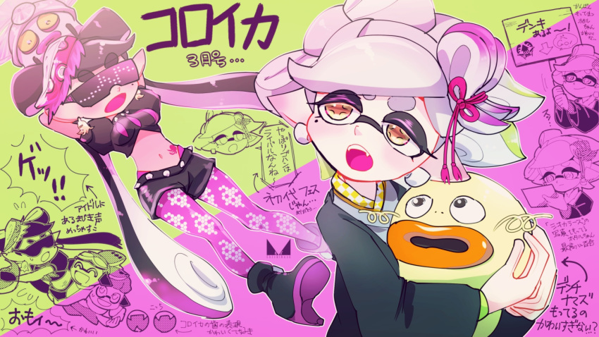 +_+ 2girls :d ^_^ ankle_boots aori_(splatoon) artist_logo black_footwear black_hair black_jacket black_shorts boots brown_eyes chichi_band closed_eyes closed_mouth commentary_request cousins crop_top denchinamazu domino_mask earrings eyebrows_visible_through_hair fang flying_sweatdrops food food_on_head frown gradient_hair green_background green_hair grey_hair grey_kimono half-closed_eyes haori headgear high_heel_boots high_heels holding holding_sign hotaru_(splatoon) inkling jacket japanese_clothes jewelry kimono long_hair long_sleeves looking_at_another looking_back mask mole mole_under_eye multicolored_hair multiple_girls obi object_on_head octarian open_mouth pantyhose pointy_ears puffy_short_sleeves puffy_sleeves purple_background purple_hair purple_legwear sash short_hair short_shorts short_sleeves shorts sign smile spiked_belt splatoon_(series) splatoon_2 squidbeak_splatoon standing standing_on_one_leg sunglasses sushi sweatdrop tako-san_wiener tentacle_hair tied_hair topknot translation_request two-tone_background very_long_hair wide_sleeves
