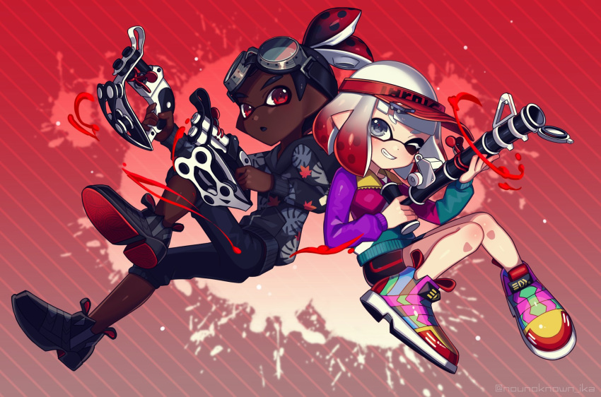 1boy 1girl ;) back-to-back bamboozler_14_(splatoon) bangs black_footwear black_hair black_shirt black_shorts black_skin blunt_bangs bob_cut clothes_writing commentary diagonal_stripes domino_mask dual_wielding goggles goggles_on_head gradient_hair grey_eyes grin hair_pulled_back highres holding holding_weapon hood hood_down hoodie inkling inkling_(language) jacket leaf_print logo long_sleeves looking_at_viewer mask multicolored multicolored_clothes multicolored_footwear multicolored_hair multicolored_jacket no_socks nou one_eye_closed open_mouth paint_splatter pointy_ears print_shirt red_background red_eyes red_headwear redhead scrunchie shirt shoes short_hair shorts smile sneakers splatoon_(series) splatoon_2 striped striped_background tentacle_hair tetra_dualies_(splatoon) topknot visor_cap weapon white_hair