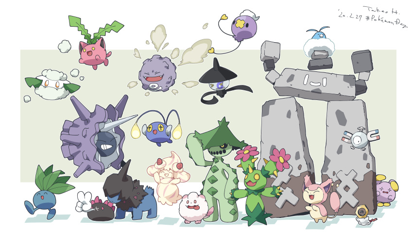 >_< ._. :d ^_^ absurdres alcremie alcremie_(strawberry_sweet) alcremie_(vanilla_cream) bird black_eyes brown_eyes cacturne cat chinchou closed_eyes cloyster commentary_request cottonee creature deino_(pokemon) fangs floating gen_1_pokemon gen_2_pokemon gen_3_pokemon gen_5_pokemon gen_6_pokemon gen_7_pokemon gen_8_pokemon highres hime_takeo hoppip jumping koffing lampent looking_at_viewer magnemite maractus meltan mythical_pokemon no_humans oddish open_mouth pokemon pokemon_(creature) pyukumuku simple_background smile smoke spikes standing stonjourner swablu swirlix tongue tongue_out v walking whismur white_background yellow_eyes