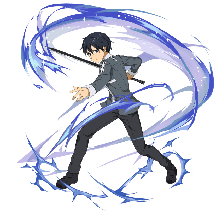 black_hair face head_tilt highres kirito outstretched_arm school_uniform sword sword_art_online sword_art_online:_memory_defrag transparent_background weapon