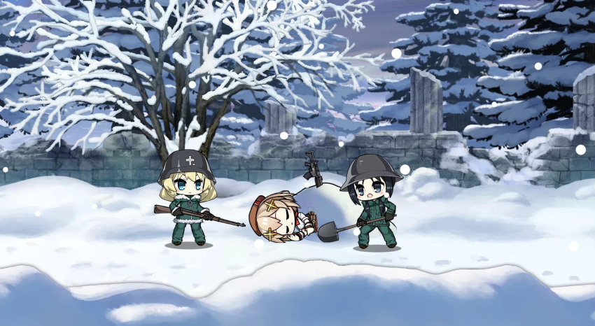 3girls assault_rifle bangs beret black_hair blonde_hair blush_stickers brodie_helmet brown_hair chibi chito_(shoujo_shuumatsu_ryokou) closed_eyes closed_mouth coat cup english_commentary expressionless fn_fnc fnc_(girls_frontline) full_body fur_trim girls_frontline gloves gun hair_between_eyes hair_ornament hair_ribbon hat helmet highres jacket long_hair long_sleeves low_twintails military military_uniform multiple_girls night open_mouth ribbon rifle shoujo_shuumatsu_ryokou shovel smile snow stahlhelm the_mad_mimic twintails uniform upper_body weapon yuuri_(shoujo_shuumatsu_ryokou)