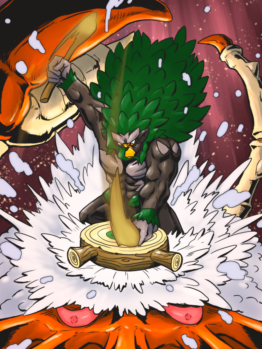 beard commentary_request creature facial_hair gen_1_pokemon gen_8_pokemon gigantamax gigantamax_kingler highres holding_drumsticks kamen_rider kamen_rider_dcd kingler kurii_chasuke muscle no_humans pokemon pokemon_(creature) rillaboom