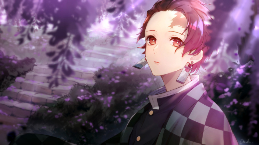 1boy black_jacket blurry_foreground brown_hair checkered dappled_sunlight earrings flower haori jacket japanese_clothes jewelry kamado_tanjirou kimetsu_no_yaiba male_focus otoufu_(gotouhu) parted_lips red_eyes shiny shiny_hair solo stairs sunlight wisteria