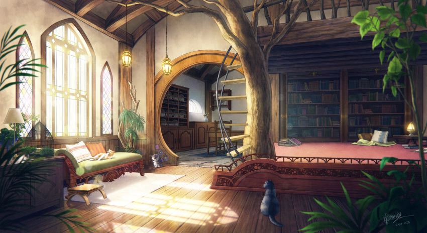 birdcage blanket book bookshelf cage cat chair couch cupboard dated fantasy flower footstool indoors kaminaga_mutsumi lamp lantern light_particles no_humans original pillow plant plate scenery shadow signature stained_glass sunlight table teapot tree vase window