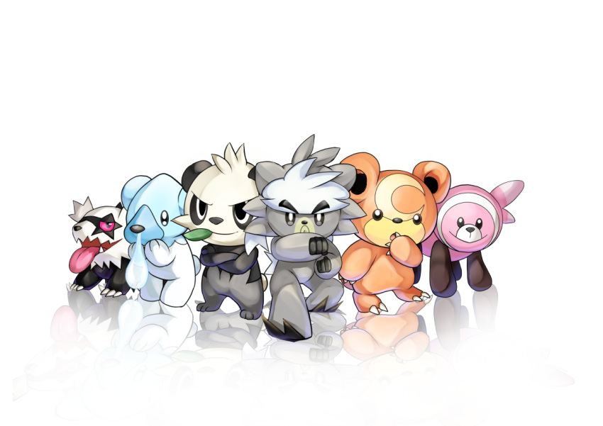 bear claws commentary_request creature cubchoo fighting_stance full_body galarian_form galarian_zigzagoon gen_2_pokemon gen_5_pokemon gen_6_pokemon gen_7_pokemon gen_8_pokemon kubfu legendary_pokemon looking_at_viewer no_humans osomatsu1ban pancham pokemon pokemon_(creature) refelction simple_background standing stufful teddiursa tongue tongue_out white_background