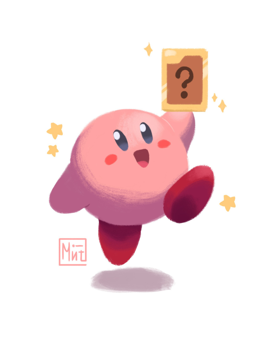 00s 1other 2000 :d ? card commentary creature english_commentary full_body hal_laboratory_inc. happy highres holding holding_card hoshi_no_kirby hoshi_no_kirby_64 jumping kirby kirby_(series) kirby_(specie) kirby_64 looking_at_viewer male mintfoox nintendo no_humans open_mouth pink_puff_ball question_mark signature simple_background smile solo sparkle white_background