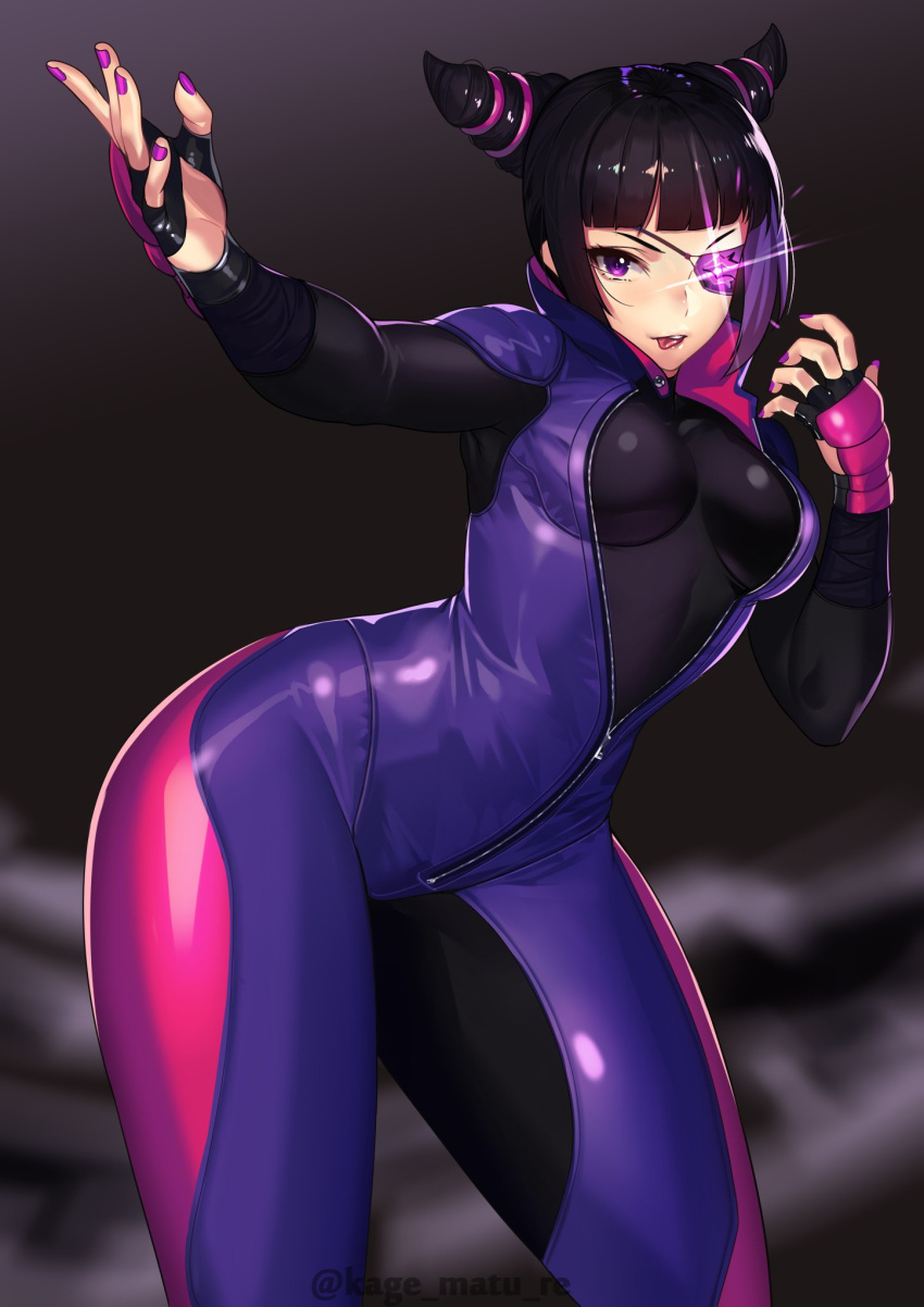 1girl :p bangs black_hair blunt_bangs bodysuit breasts contrapposto eyepatch fighting_stance fingerless_gloves fingernails glint gloves han_juri hands_up highres kagematsuri large_breasts looking_at_viewer one_eye_covered purple_nails smile solo street_fighter street_fighter_v tongue tongue_out violet_eyes