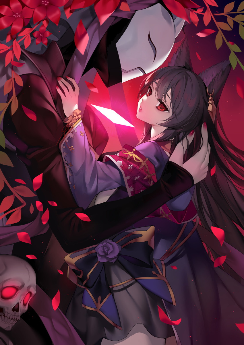 1girl absurdres animal_ears bangs black_bow black_hair black_jacket blue_kimono bow commentary_request death_(granblue_fantasy) ear_piercing erune eyebrows_visible_through_hair flower glowing glowing_eyes granblue_fantasy highres jacket japanese_clothes juliet_sleeves kimono long_hair long_sleeves mask may_(2747513627) nail_polish nier_(granblue_fantasy) petals piercing puffy_sleeves purple_flower purple_nails purple_rose red_eyes red_nails rose skull very_long_hair wide_sleeves