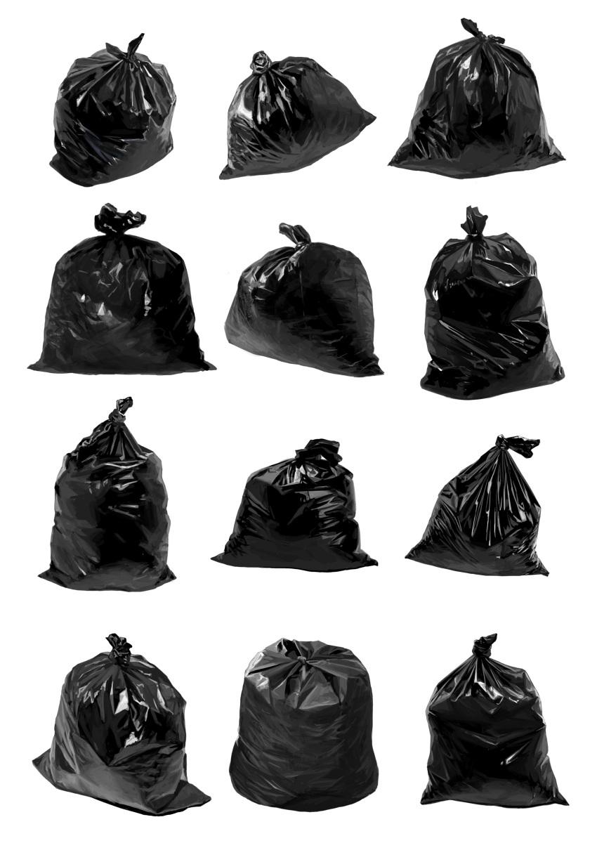 absurdres bag highres iren_krkt no_humans original photorealistic simple_background still_life trash_bag white_background