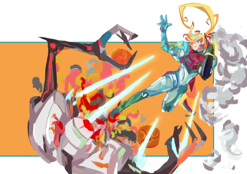 1girl absurdres arm_cannon armor bangs battle blonde_hair blue_eyes e.m.m.i._(metroid) glowing gun highres long_hair metroid metroid_(classic) metroid_dread mole mole_under_mouth ponytail power_armor samus_aran science_fiction sidelocks simple_background upper_body varia_suit visor wasumyon weapon
