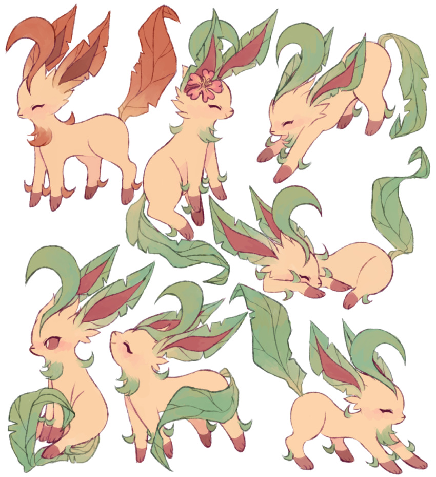 ^_^ alternate_color charamells closed_eyes commentary creature english_commentary full_body gen_4_pokemon leafeon lying no_humans on_stomach pokemon pokemon_(creature) shiny_and_normal shiny_pokemon sitting standing stretch