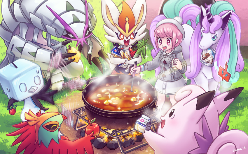 1girl :d apple artist_name aspear_berry buttons cardigan cheri_berry cinderace clefable clumeal collared_dress cooking curry dress drooling eiscue fanning fire food fruit galarian_form galarian_rapidash gen_1_pokemon gen_4_pokemon gen_6_pokemon gen_7_pokemon gen_8_pokemon golisopod grass grey_cardigan hawlucha highres holding holding_ladle ladle long_sleeves mushroom open_mouth outdoors pink_eyes pink_hair pokedex pokemon pokemon_(creature) pokemon_(game) pokemon_swsh pom_pom_(clothes) pot rock rotom rotom_dex saliva short_hair smile sparkle spring_onion standing steam tam_o'_shanter tamato_berry tent white_dress white_headwear wristband yuuri_(pokemon)
