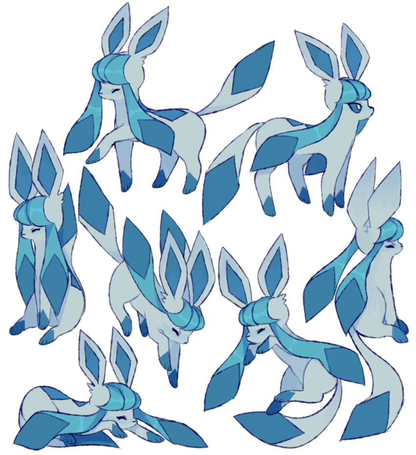 ^_^ charamells closed_eyes commentary creature english_commentary full_body gen_4_pokemon glaceon lying no_humans on_stomach pokemon pokemon_(creature) sitting standing standing_on_three_legs