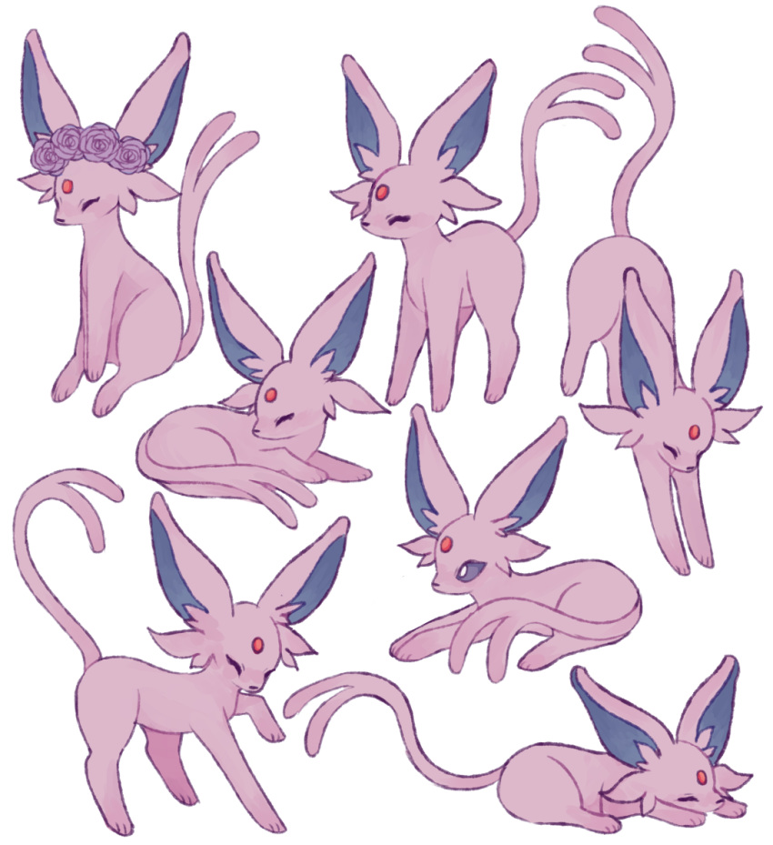 ^_^ charamells closed_eyes commentary creature english_commentary espeon full_body gen_2_pokemon lying no_humans on_stomach pokemon pokemon_(creature) sitting standing standing_on_three_legs
