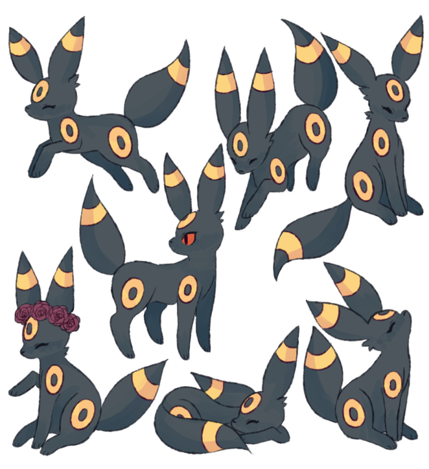 ^_^ charamells closed_eyes commentary creature english_commentary full_body gen_2_pokemon lying no_humans on_stomach pokemon pokemon_(creature) sitting standing umbreon