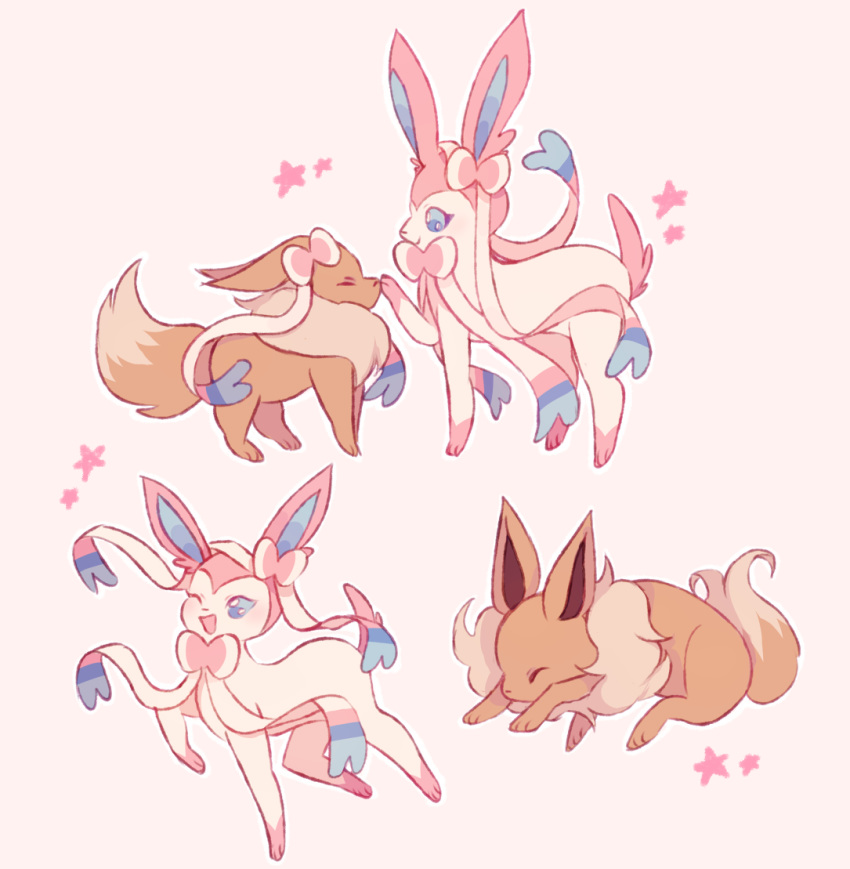 ;d blue_eyes charamells closed_eyes commentary creature eevee english_commentary facing_another full_body gen_1_pokemon gen_6_pokemon looking_at_another no_humans one_eye_closed open_mouth pokemon pokemon_(creature) ribbon simple_background smile standing star sylveon walking white_background