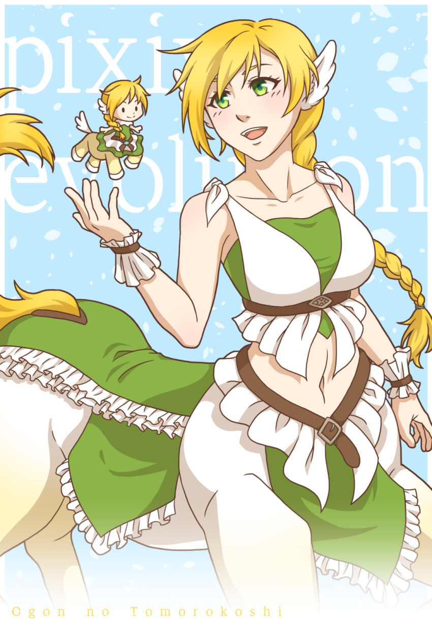 2girls :d artist_name bangs bare_shoulders belt blonde_hair blue_background blush braid breasts brown_belt centaur chibi collarbone commentary_request cowboy_shot crop_top dress dual_persona eyebrows_behind_hair full_body green_dress green_eyes green_tubetop hair_between_eyes hand_up highres hooves horse_tail large_breasts long_hair looking_at_another midriff monster_girl multiple_girls multiple_legs navel ogon_no_tomorokoshi open_mouth original sidelocks sleeveless sleeveless_dress smile standing strapless tail tubetop underbust white_dress wing_ears wrist_cuffs