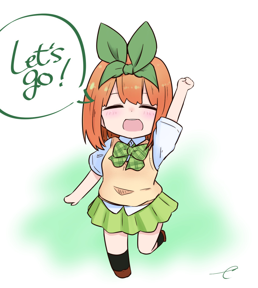 1girl :d arm_up bangs black_legwear blush bow breasts brown_footwear chibi closed_eyes collared_shirt english_text eyebrows_behind_hair facing_viewer full_body go-toubun_no_hanayome green_bow green_ribbon green_skirt hair_ribbon highres kneehighs kujou_karasuma nakano_yotsuba open_mouth orange_hair plaid plaid_bow pleated_skirt ribbon round_teeth shirt shoes short_sleeves signature skirt small_breasts smile solo speech_bubble standing standing_on_one_leg sweater_vest teeth upper_teeth white_shirt