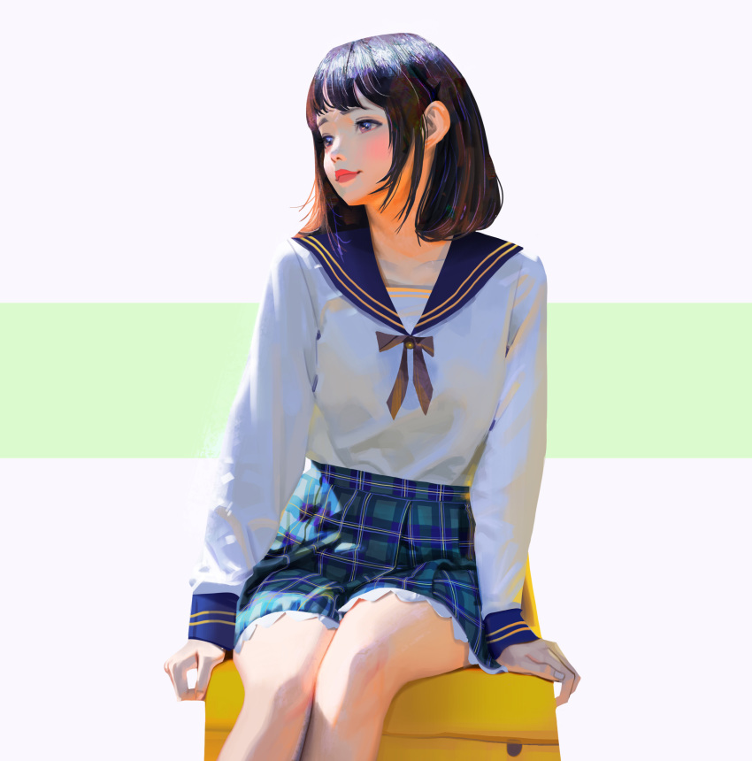 1girl absurdres brown_hair closed_mouth copyright_request feet_out_of_frame green_background highres long_sleeves looking_away plaid plaid_skirt school_uniform short_hair simple_background sitting skirt sleeves_past_wrists solo white_background wonbin_lee