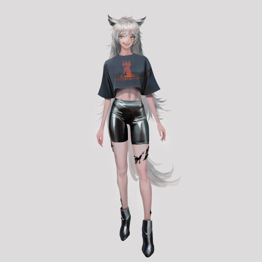 1girl absurdres animal_ears arknights clothing_request crop_top green_eyes highres lappland_(arknights) long_hair looking_at_viewer open_mouth shoes simple_background smile solo tail teeth white_background white_hair wolf_ears wolf_girl wolf_tail wonbin_lee