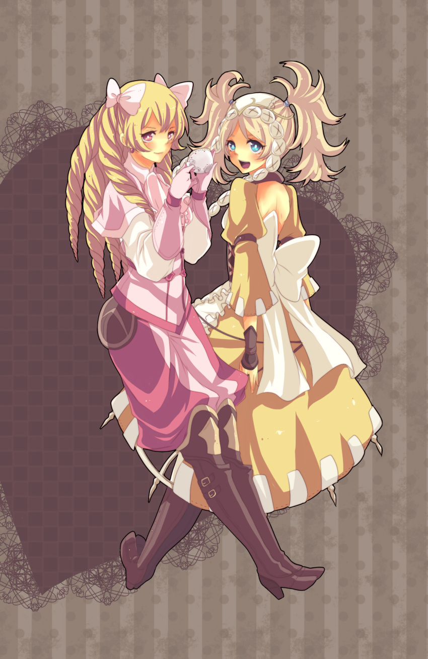 2girls absurdres apron arm_belt ascot backless_dress backless_outfit blonde_hair blue_eyes boooo-im boots bow capelet corset cup dangle_earrings dress drill_hair earrings fire_emblem fire_emblem_awakening full_body gloves hair_bow hair_tie heart heart_background high_heel_boots high_heels highres holding holding_cup huge_bow jewelry leather leather_boots leather_gloves lissa_(fire_emblem) long_hair looking_at_viewer maribelle_(fire_emblem) messy_hair multiple_girls open_mouth pants pink_bow pink_capelet pink_eyes pink_gloves pink_pants polka_dot polka_dot_background smile striped teacup thigh-highs thigh_boots twintails vertical_stripes white_bow yellow_dress